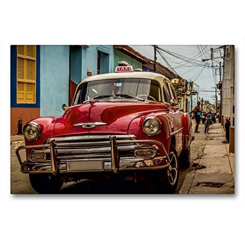 CALVENDO Premium Textil-Leinwand 90 x 60 cm Quer-Format Kuba Nostalgie: Oldtimer in Trinidad, Leinwanddruck von Krueger Photography