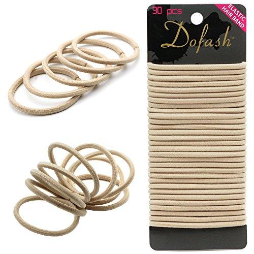 Dofash 30pcs Hyper elastic hair ties ponytail holders Beige 4mm x 5.5''