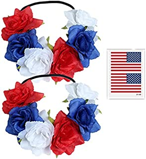 2Pcs Flower Headbands for July 4 Parade, Patriotic White Red Blue