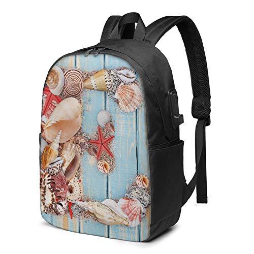 Laptop Rucksack Business Rucksack für 17 Zoll Laptop, Schriftart lebhafte Muscheln exotisch Schulrucksack Mit USB Port für Arbeit Wandern Reisen Camping, für Herren Damen