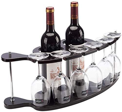 Estantería de vino Botellero de madera / botella estante de exhibición de artesanías encimera / soporte de estante del vino 2 botellas de vino y seis copas de vino / estante del vino al revés estante