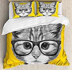 kitty cat wearing glasses duvet cover