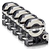 Absonic Compatible Label Tape Replacement for Epson LK-4WBN LC-4WBN LC 4WBN9 SS12KW Cartridge Work for LabelWorks LW300 LW400 LW500 LW700 Label Maker, Black on White, 1/2' x 26', 12mm x 8m, 5-Pack