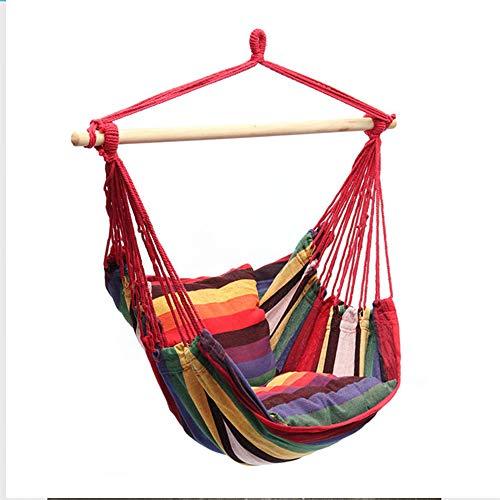 WJJ Columpio de Cuerda Colgante para Silla Hamaca con 2 Cojines de Asiento incluidos - Tejido de algodón de Calidad, Durabilidad y Comodidad, máximo 265 Libras, hogar al Aire Libre, jardín