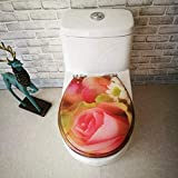 Toilet Lid Asiento de Inodoro Rose Printing WC Tapa con bisagra Ajustable de liberación rápida de Asiento de Inodoro de la Cubierta Espesada Baño Tapa for V/T/O Forma WC, OneColor-40~48 * 33~38cm