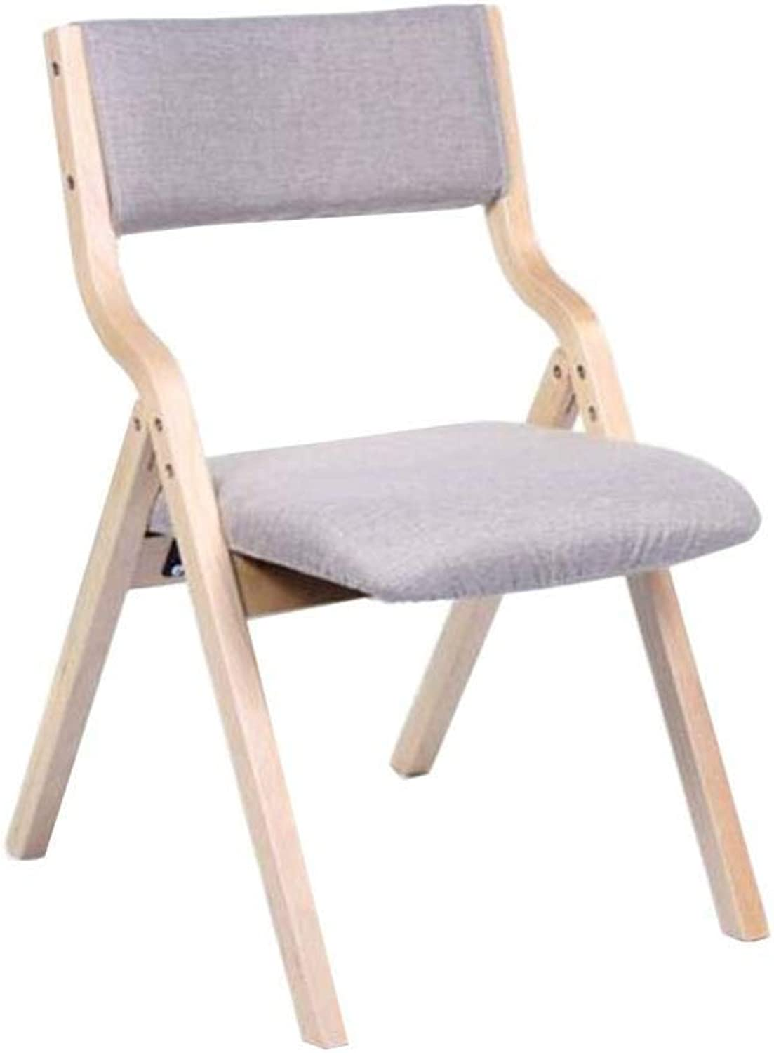 FENGFAN Folding Chairs, Solid Wood Frame Linen Cover Upholstered Kitchen Home Furniture Reception Chair