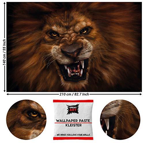 GREAT ART Fototapete Brüllender Löwe 210 x 140 cm – Ruf Wildes Tier König Dschungel Natur Wildkatze Raubtier Regenwald Katze Wandtapete – 5 Teile Tapete inklusive Kleister