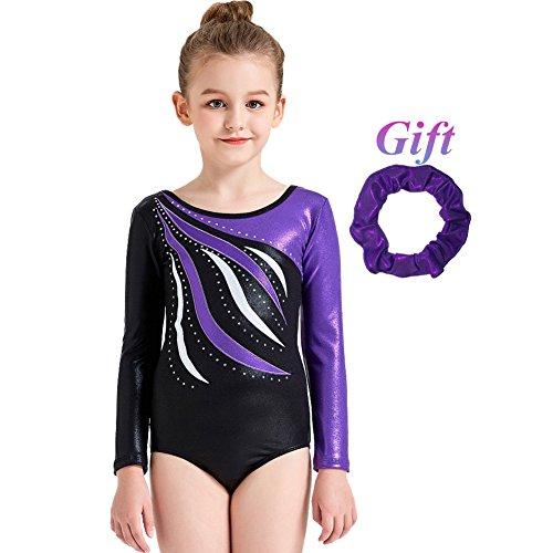Hougood Turnanzug für Mädchen Ballett Leotards Bodysuit Streifen Diamant Tanzkleidung Gymnastik Overalls Tanz Kostüme Alter 3-14 Jahre alt