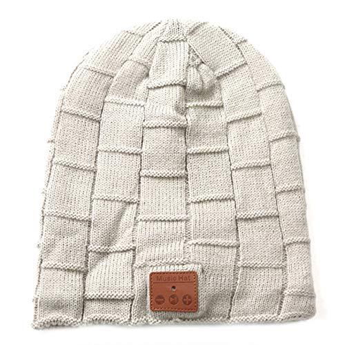 Gorro de lana con Bluetooth V5.0 inalámbrico de invierno para sombreros de música, unisex, gorro de punto, con altavoces estéreo, color blanco