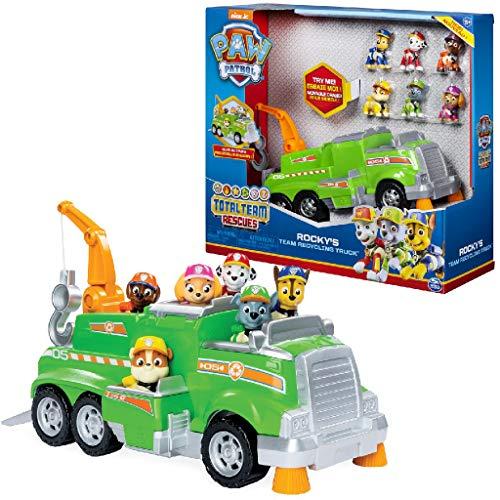 Paw Patrol- Total Team Rescues Mega Camion per La Raccolta dei Rifiuti di Rocky con Chase, Marshall, Rubble, Skye E Zuma, Multicolore, 3+ Anni, 6052962