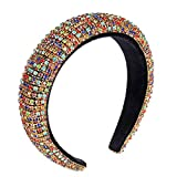 ANJLESJELL Crystal Padded Headbands Rainbow Bejewelled Velvet Hairbands for Women Girls Rhinestone Embellished Hair Band Trendy Hair Accessory for Holiday Party (A Rainbow)