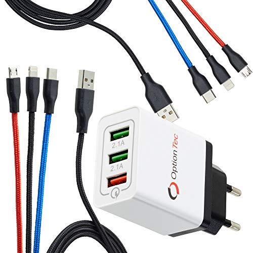 OptionTec Ladeadapter mit Schnellladung 2 Stuck Multi Ladekabel 3 in 1 lange 12 Meter 3 Farben zur einfachen Erkennung Handy Tablet usw Adapter mit 3 USB Anschlussen