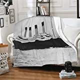 Photography Rms Titanic Famous Old Vintage Historic Throw Blanket Microfiber Fleece Flannel Blankets Lightweight Super Fluffy Bed Blanket fit Couch Suitable for All Season