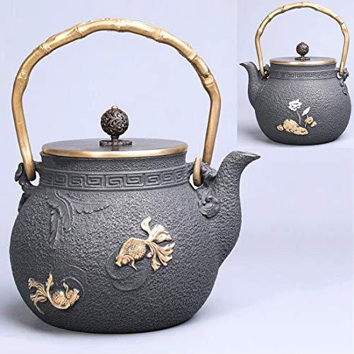 Tea Pot, Cast Iron Japanese Tea Maker, Vintage Heat Resistant Small 1.2 Litre Tea Pot for Loose Leaf Tea, for Party Office Home