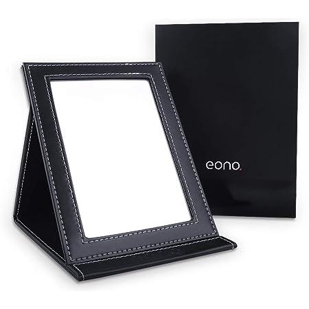 [Amazonブランド] Eono(イオーノ)鏡 卓上 鏡 化粧鏡 折りたたみミラー 収納便利 調整自由 PUレザー (ブラック)