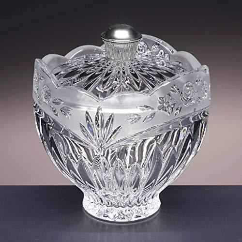 la galaica Bonbonnière en Cristal - pour des chocolats ou des Bonbons - Collection 66/24 - poigne en Argent 925-14,5x14,5x16 cm.