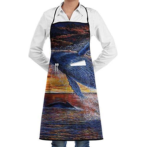 N\A Tablier à bavette Baleine de mer Huile résistante à l'eau Sale Cuisine Tabliers de Cuisine Poches Femmes Hommes Chef