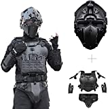 DFWY Outdoor Multifunctional Tactical Equipment Armor Set Adjustable Tactical Elbow Pad Waist Seal, MOLLE Vest CS Paintball Protection (Color : BK Vest and Helmet A)