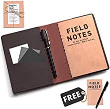 MOMOSTOP - Leather Pocket Journal Cover with Field Notes Book & Pen, Moleskine Cahier Cover with Field Book for 3.5