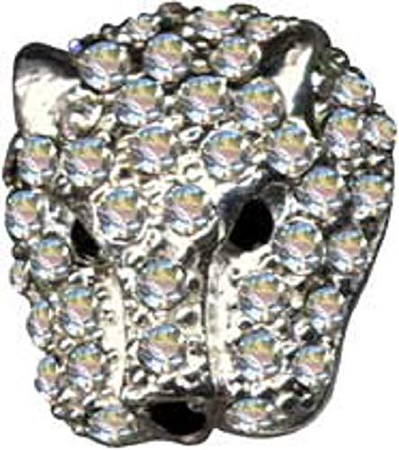 Colgante de cabeza de leopardo de plata de ley 925 con circonitas, cristales brillantes, joyería de plata de ley 925, extravagante, color blanco