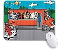 NINEHASA 可愛いマウスパッド 犬の服従スクールバスの凧はしかめっ面のスリングショットを延長します ノンスリップゴムバッキングコンピューターマウスパッドノートブックマウスマット