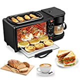 3 in 1 Breakfast Station Electric Breakfast Station with Coffeemaker Toaster Oven Griddle...