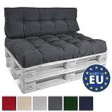 Beautissu ECO Style Coussins pour Canape Euro Palette - Dossiers - 120x40x15 cm - Gris Graphite