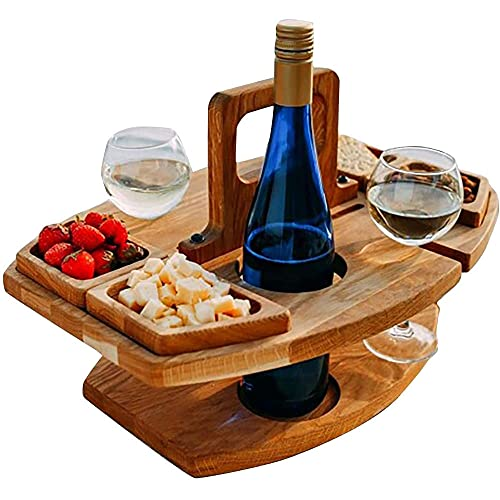Mesa de picnic plegable al aire libre de madera con soporte para copas de vino portátil creativo 2 en 1 estante de copa de vino para fiesta de jardín y camping
