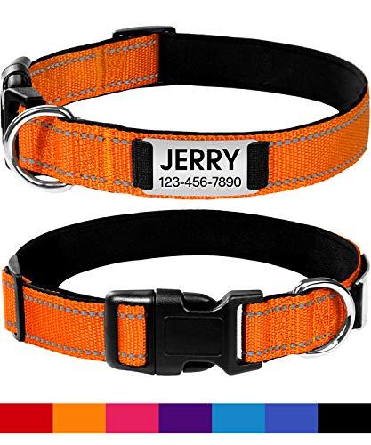 Joytale Reflektierende Halsband mit Namen und Telefonnummer für Hund,Personalisiertes Hundehalsband für Kleine Mittel Große Hunde,Orange