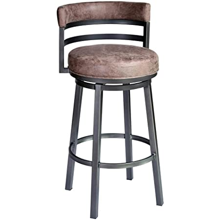 Amazon Com Armen Living Dynasty 30 Bar Height Barstool In Bandero Tobacco Fabric And Mineral Finish Furniture Decor