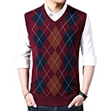 HEQU Men's Argyle V-Neck Sweater