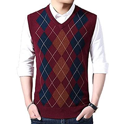 HEQU Men's Argyle V-Neck