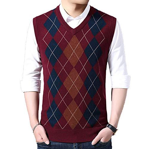 HEQU Men's Argyle V-Neck Sweater Casual Vest V-Neck Golf Sweater Vest(M Red)