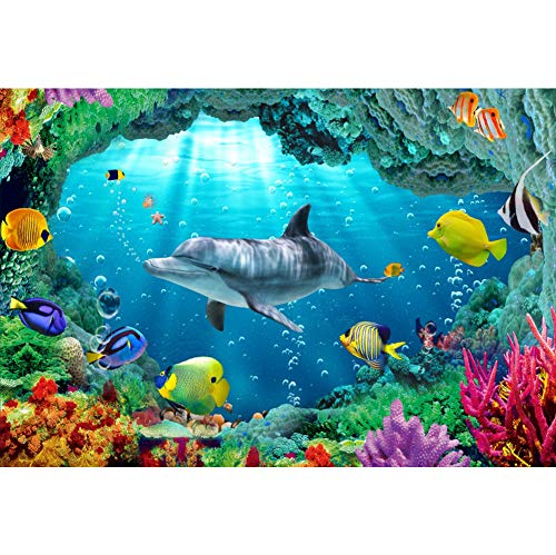 Cassisy 2,2x1,5m Vinilo Submarino Telon de Fondo Especies Marinas Coral Peces Tropicales Delfín Haz De Sol Fondos para Fotografia Party Infantil Photo Studio Props Photo Booth