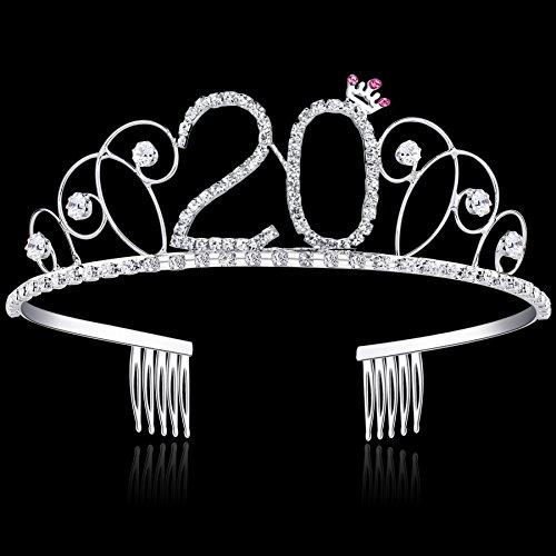BABEYOND Kristall Geburtstag Tiara Birthday Crown Prinzessin Kronen Haar-Zusätze Silber Diamante Glücklicher 18/20/21/30/40/50/60 Geburtstag (20 Jahre alt) - 4