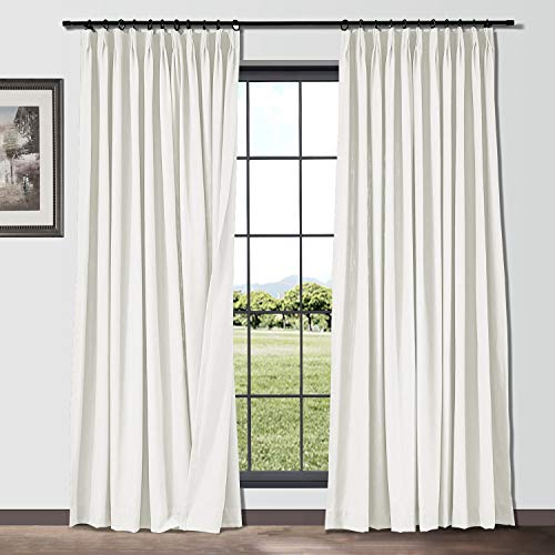 ChadMade Linen Cotton 2 Panels 50 in Width x 108 Inch Length Pinch Pleat Curtains Room Darkening Draperies Living Room Patio Sliding Door Extra Long Drapes, White