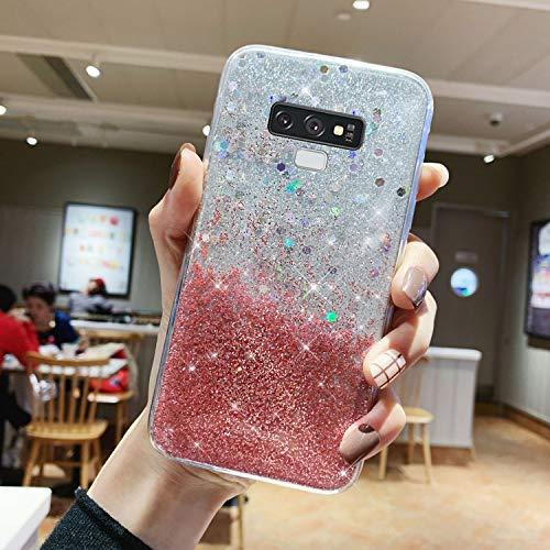 Urhause Kompatibel mit Samsung Galaxy Note 9 Hülle TPU Silikon Schutzhülle,[Glänzend Glitzer Bling Silikonhülle] Hülle Gemalt,Ultra Slim Durchsichtig mit Muster Bumper Stoßfest Hülle Case Cover,Rosa