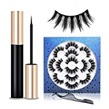 Magnetic Eyeliner and Lashes Kit, Reusable Magnetic Eyelashes Set With Tweezer For Natural Look, No Glue Need False Lashes, Handmade 3D Faux Mink Eyelash With 5 Magnets [7 Pairs Pack]