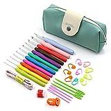 11pcs Mango Suave De Aluminio Crochet Ganchos Kit Hilado Agujas De Tejer Herramientas De Coser Agarre Ergonómico Set Con Bolsa De Almacenamiento - Multicolor