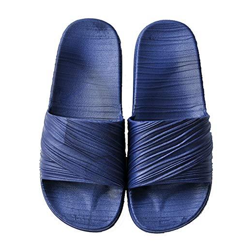 YELAN Unisex cómodo color sólido zapatillas de playa casuales baño interior antideslizante patrón de secado rápido sandalias exteriores (43/44, Navy blue, numeric_43)