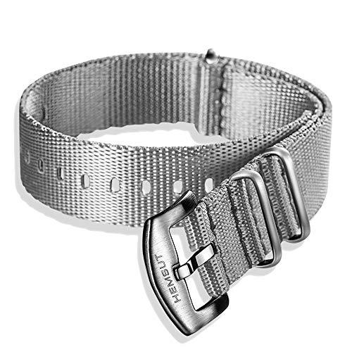 Hemsut NATO-Armband, Sicherheitsgurt-Uhrenarmband für Damen und Herren, 20mm High End Soft Quality Nylon-Armbänder mit gebürsteter Dornschließe