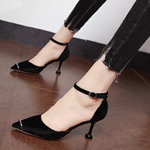 Xue Qiqi L'élégant light-chaussures unique clip crénelé bagues métalliques et polyvalent avec fine pointe de chaussures à haut talon