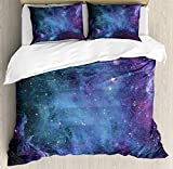 Ambesonne Outer Space Duvet Cover Set, Galaxy Stars in Space Celestial Astronomic Planets in The Universe Milky Way, Decorative 3 Piece Bedding Set with 2 Pillow Shams, Queen Size, Navy Purple