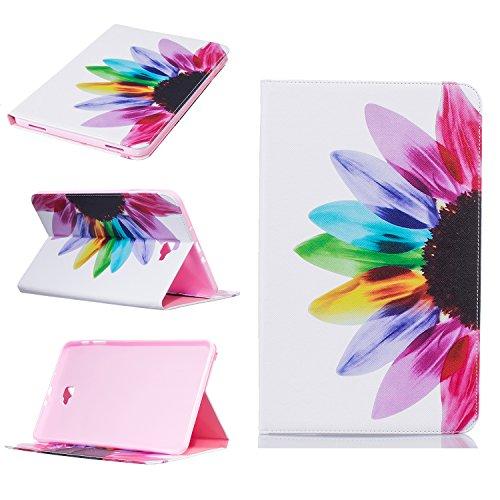 Beimu - Funda para Galaxy Tab A 10.1 (Piel sintética, Ultrafina, con Tarjetero y Ranura para Tarjeta de identificación, para Samsung Galaxy Tab A de 10,1 Pulgadas, SM-T580 y SM-T585) Half Flower