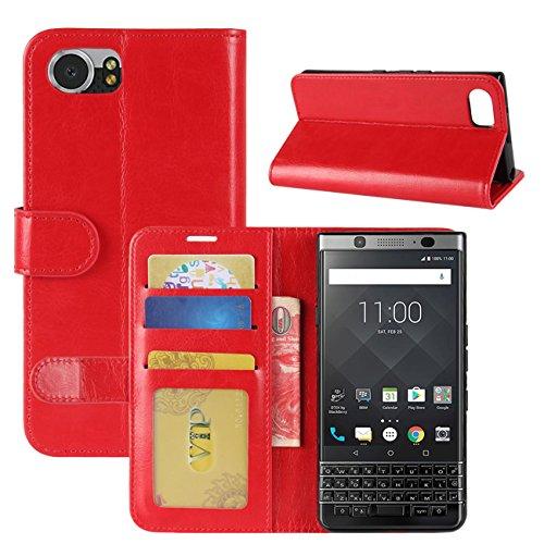 HualuBro BlackBerry KEYone Hülle, Retro Leder Brieftasche Etui LederHülle Tasche Schutzhülle HandyHülle Handytasche Leather Wallet Flip Hülle Cover für BlackBerry KEYone - Rot