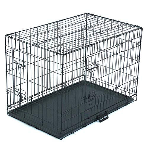 N-B Pet Cage For Cats and Dogs Foldable Steel Box Animal Fence Metal Ribbon Double Door Tray Portable and Durable