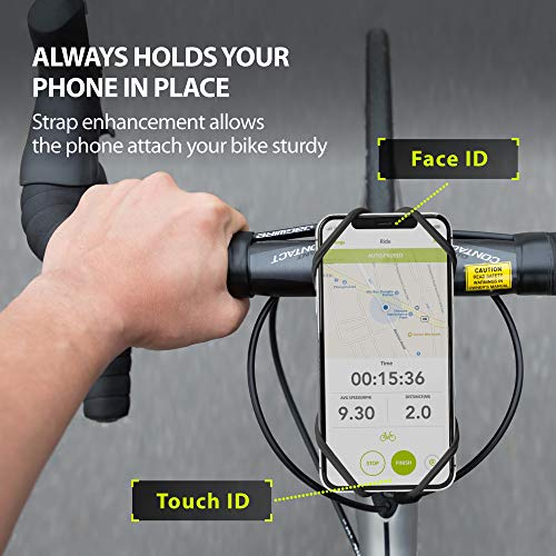 """Bone Bike Tie Pro 4 Bike Phone Holder for Stem Mounting 4.7"""" - 7.2"""" Screen Smartphones, Face ID Compatible, Ultra Light Weight Bicycle Phone Mount, Designed for Road, Race & Touring - Black"""