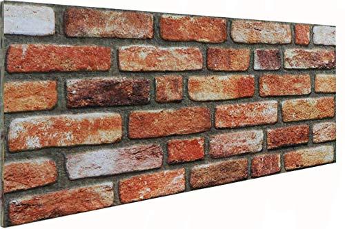3D Wandverkleidung Wandpaneel aus Styropor in Steinoptik für Wohnzimmer, Küche, Terrasse oder Schlafzimmer - Ziegeleffekt - 100 cm x 50 cm x 2 cm, Typ 180