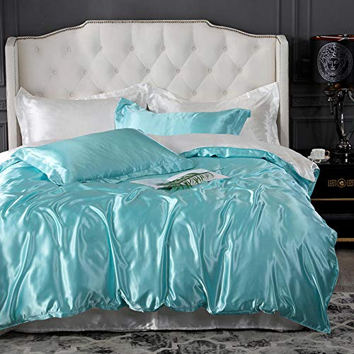 geek cook Homehold Sheets Set,Pure color ice silk summer washed silky summer thin-Water blue and white_4pcs bed sheet set (quilt cover 180x220cm)