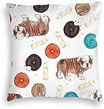 Funda de almohada de terciopelo con diseño de huesos de bulldog y donas para sofá, cuadrada, funda de cojín decorativa, fundas de almohada de 18 x 18 pulgadas